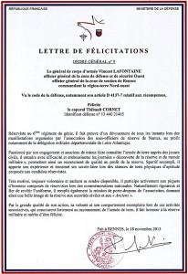 Lettre de felicitation
